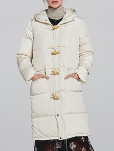 Image of Cappotto bianco da donna Cappotto con collo alto con cappuccio C
