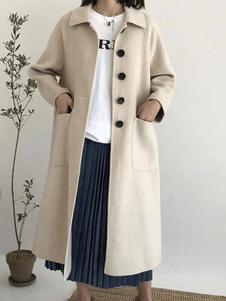 Image of Cappotto casual oversize con collo a bottoni da donna Cappotto c