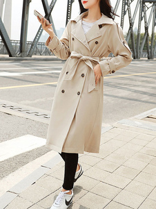 Image of Cappotto per donna Khaki Turndown Collar Maniche lunghe Tasche C
