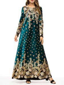 Image of Abbigliamento donna Abito Abaya Abbigliamento arabo Verde scuro