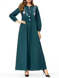 Image of Abbigliamento donna Abito Abaya Abbigliamento arabo Stampa flore