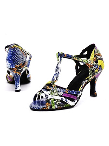 Image of Womens Latin Dance Shoes Ballroom Open Toe T-type Python Sandals