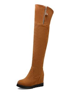 Bottes au genou pour femmes Botte d'hiver à talon compensé e