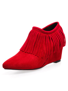 Image of Women Ankle Boots Micro Suede Pointed Toe Wedge Heel 2.6 Booties