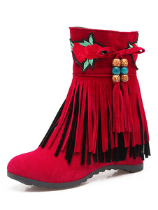 Image of Women Wedge Heel Ankle Boots Bohemian Boots With Fringe