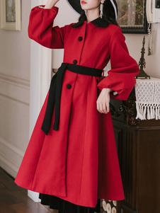 Image of Cappotto donna Cappotto rovesciato bicolore con lacci Cappotto a