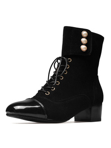 Image of Women Square Toe Lace Up Ankle Boots Low Block Heel Boots With P