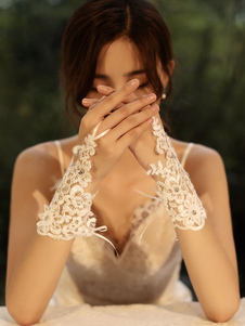 Image of Guanti da sposa Guanti senza dita Guanti corti di accessori in p