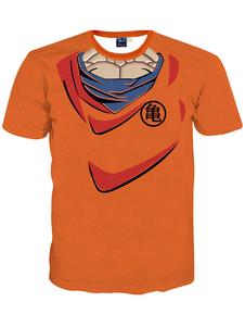 Image of T-shirt arancia Chic Anime stampa cotone t-shirt uomo Carnevale