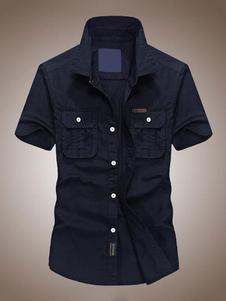 Image of Camicia da uomo in cotone a maniche corte T-shirt da uomo a mani