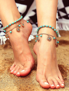 Image of Boho Anklet Bracelet Beaded Flower Beach Jewelry