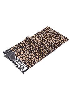 Image of Sciarpa in misto lana stampa leopardo maschile Sciarpa con frang