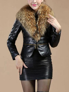 Image of Pelliccia collo cerniera PU pelle giacca giacca invernale donna