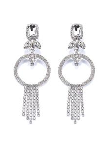 Boucles d'oreilles Argent Strass Métal Piercing Bijoux Femme
