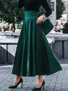 Image of Gonna a ruota Donna Maxi gonna verde naturale Hunter