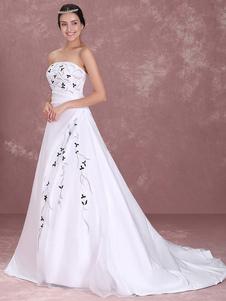 Image of Abbigliamento da sposa bianco satin senza spalline a-linea stras