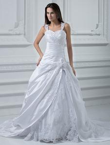 Image of Abbigliamento da sposa bianco elegante & lussuoso in raso con sc