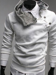 Fashion White Buttons Long Sleeves Cotton Men's Hoodie