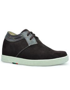 Altura de suela de goma de gamuza marrón acogedor aumento de zapatos para hombres