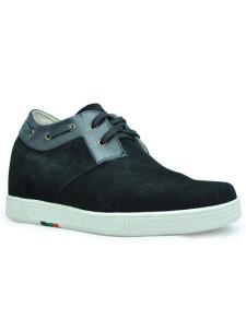 Altura de suela de goma Suede negro cómodo aumento de zapatos para hombres