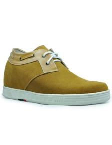 Altura de moda amarillo gamuza suela de goma masculino aumento de zapatos