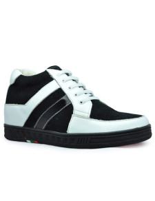 Black White Rubber Suede elevator shoes height increasing shoes elevate shoes Increasing Hight Shoes For Men