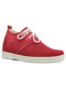 Red Front Tie Rubber Suede Mens Taller Shoes