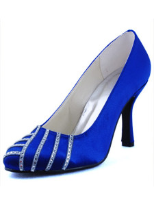 Pretty Blue Satin Rhinestone Round Toe Wedding Pump Shoes