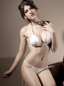Sexy White Halter Thong TwoPiece Bikini Swimsuit