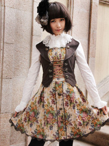 Gothic Floral Trim Cotton Blend Sleeveless Lolita Dress