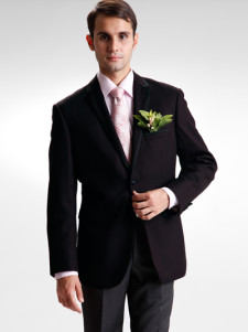 Formal Black Satin Groom Wedding Tuxedo