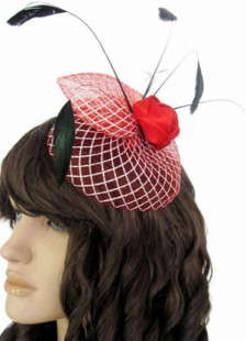 Red Black White Flower Net Womens Hair Hat