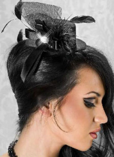 Beautiful Black Net Feather Decoration Womens Hair Hat