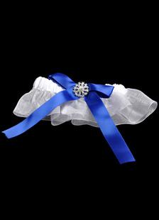 Image of Giarrettiera in bianco e blu royal di pizzo in raso e garza per il matrimonio