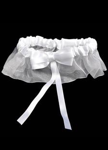 Image of Fiocco bianco dolce TERGALLO raso garza Wedding Giarrettiera