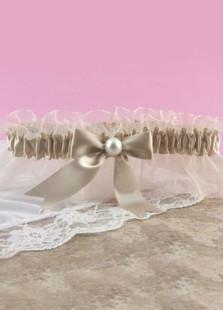 Image of Luce gialla Champagne Bow Terylene Wedding raso bordare Giarrettiera