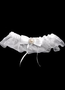 Image of Luce gialla Bow perla Terylene garza raso Wedding Giarrettiera