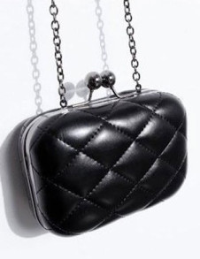 Black Classical Quilted PU Womens Clutch Bag
