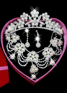 White Rhinestone Pierced Metal Chic Leaf Flower Jewelry Set For Bridal