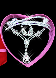 White Rhinestone Pierced Metal Gorgeous Drops Design Bridal Jewelry Set
