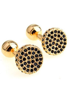 round-black-crystal-beads-mens-cufflinks
