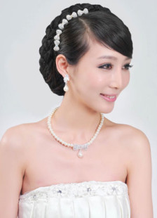 White Imitation Pearl Pierced Metal Gorgeous Drops Design Bow Fashion Wedding Jewelry Set