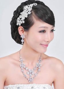 Chic White Metal Cubic Zirconia Flower Fashion Wedding Jewelry Set