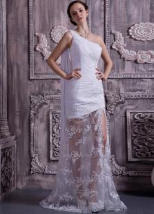 Свадебное платье облегающее на одно плечо до пола из кружева с кружевом
