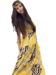Yellow Animal Print Chiffon Sleeveless Vneck Womens Maxi Dress