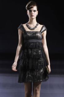 Black Tiered Mini Length Empire Waist Womens Cocktail Dress