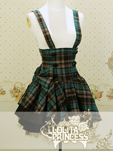 Blue Plaid Pattern Sweet Cotton Lolita Skirt