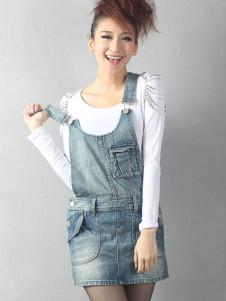 Blue Mini Length Sleeveless Cotton Womens Tank Dress
