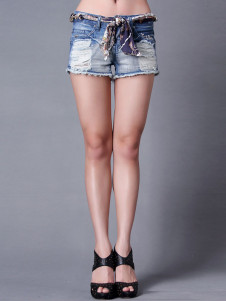 Blue Fashion Distressed Extra Short Denim Womens Shorts