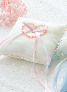 White Satin Pink Heart Shaped Pearls Bow Ring Bearer Pillow